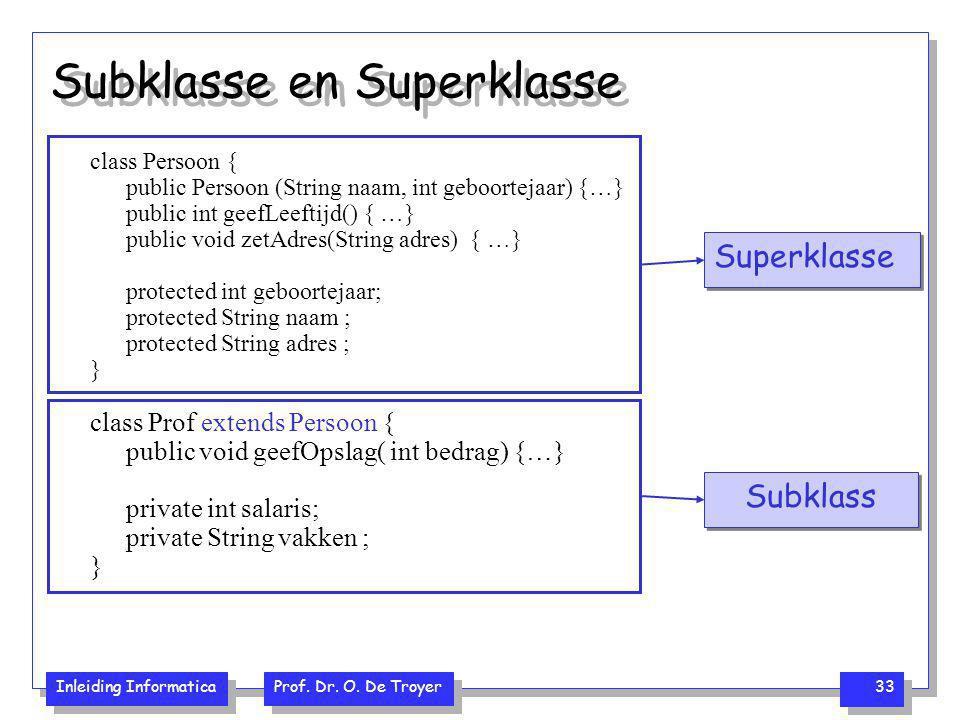 Subklasse en Superklasse