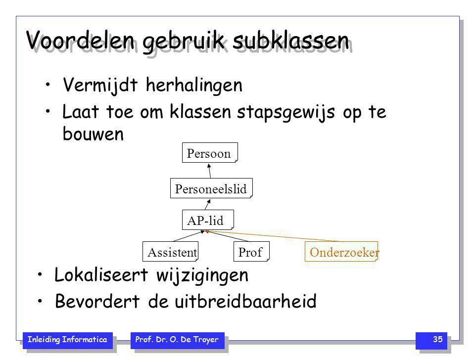 Voordelen gebruik subklassen