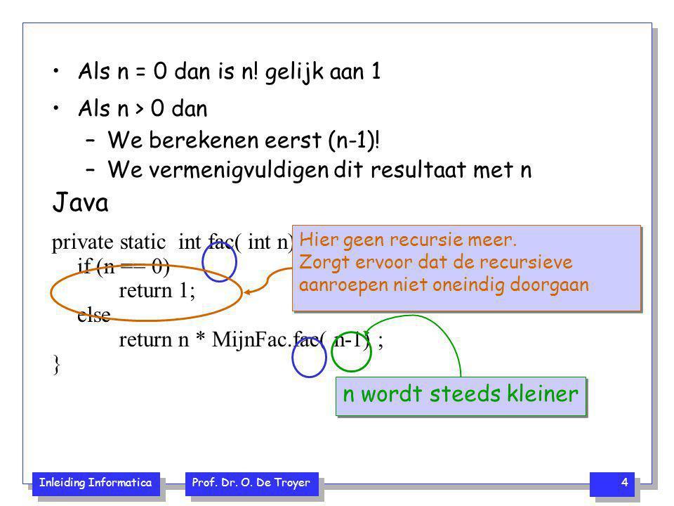 Java Als n = 0 dan is n! gelijk aan 1 Als n > 0 dan