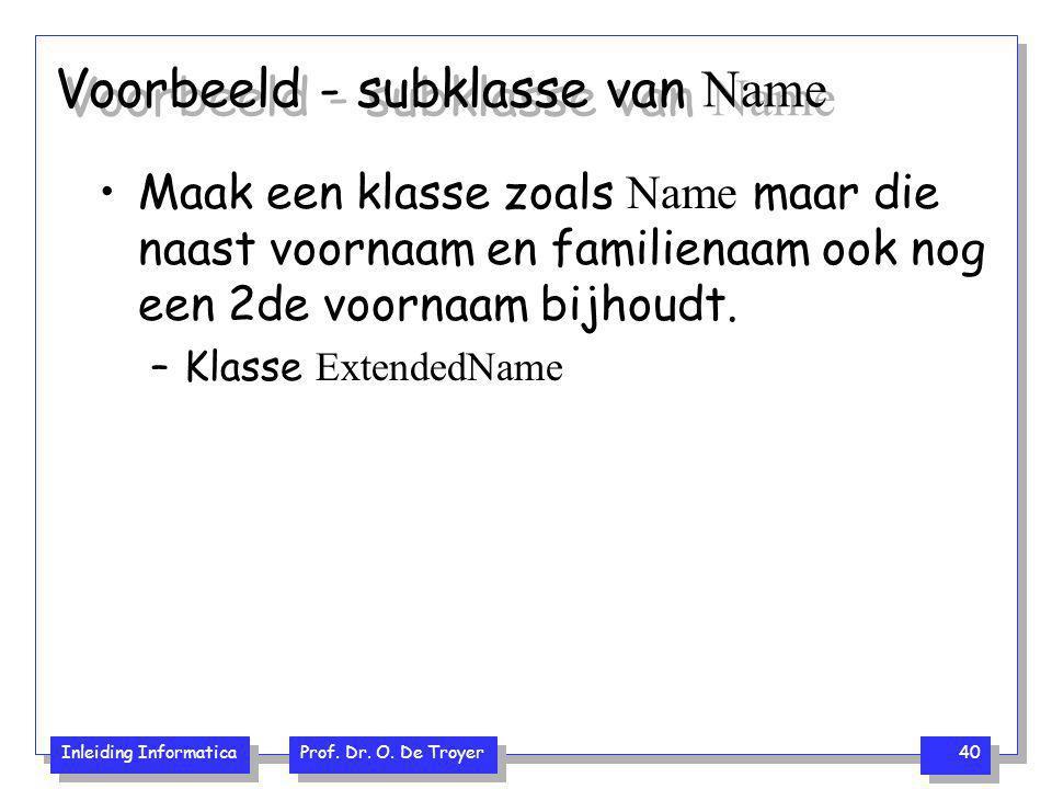 Voorbeeld - subklasse van Name