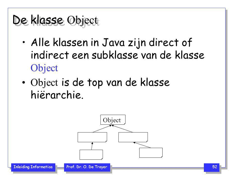 De klasse Object Alle klassen in Java zijn direct of indirect een subklasse van de klasse Object. Object is de top van de klasse hiërarchie.