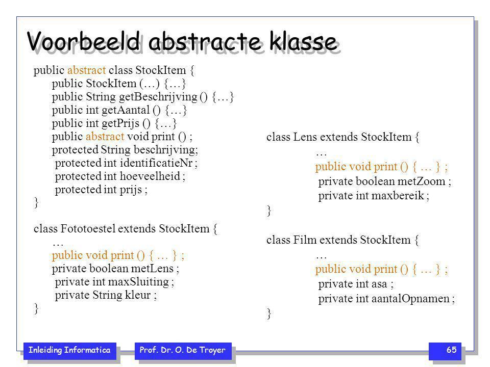 Voorbeeld abstracte klasse