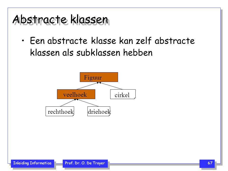 Abstracte klassen Een abstracte klasse kan zelf abstracte klassen als subklassen hebben. Figuur. veelhoek.
