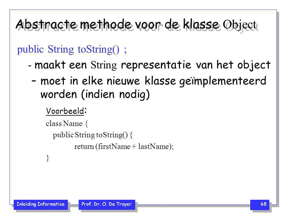 Abstracte methode voor de klasse Object