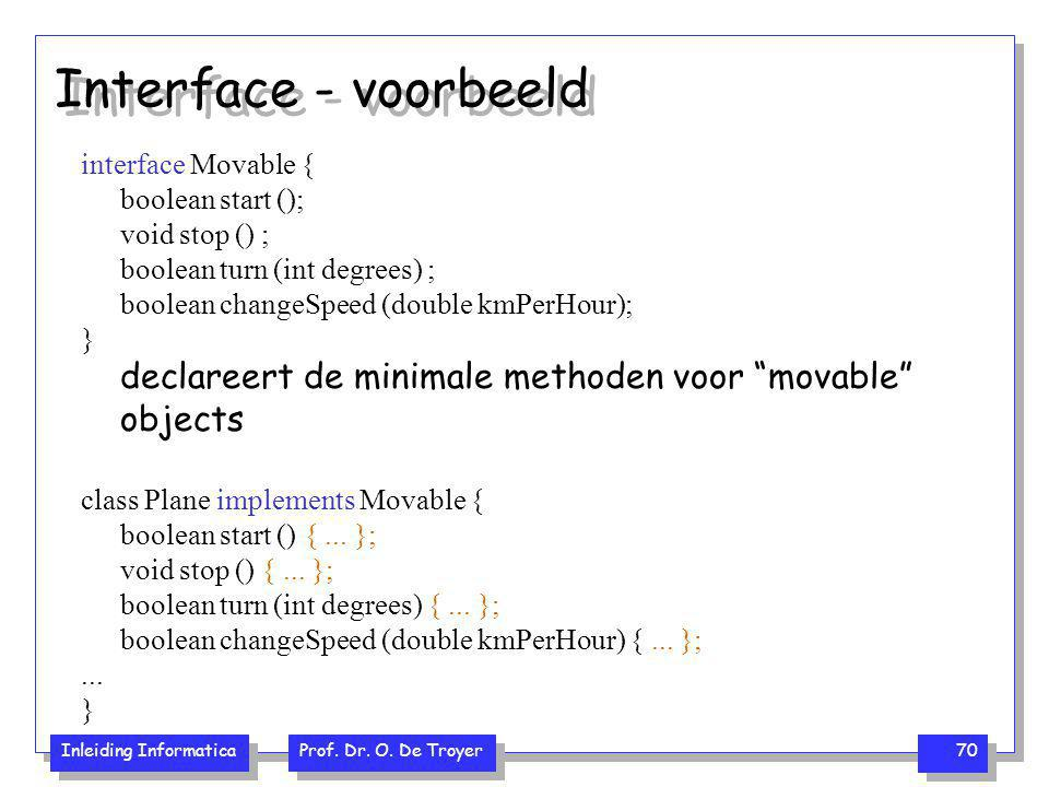 Interface - voorbeeld interface Movable { boolean start (); void stop () ; boolean turn (int degrees) ;