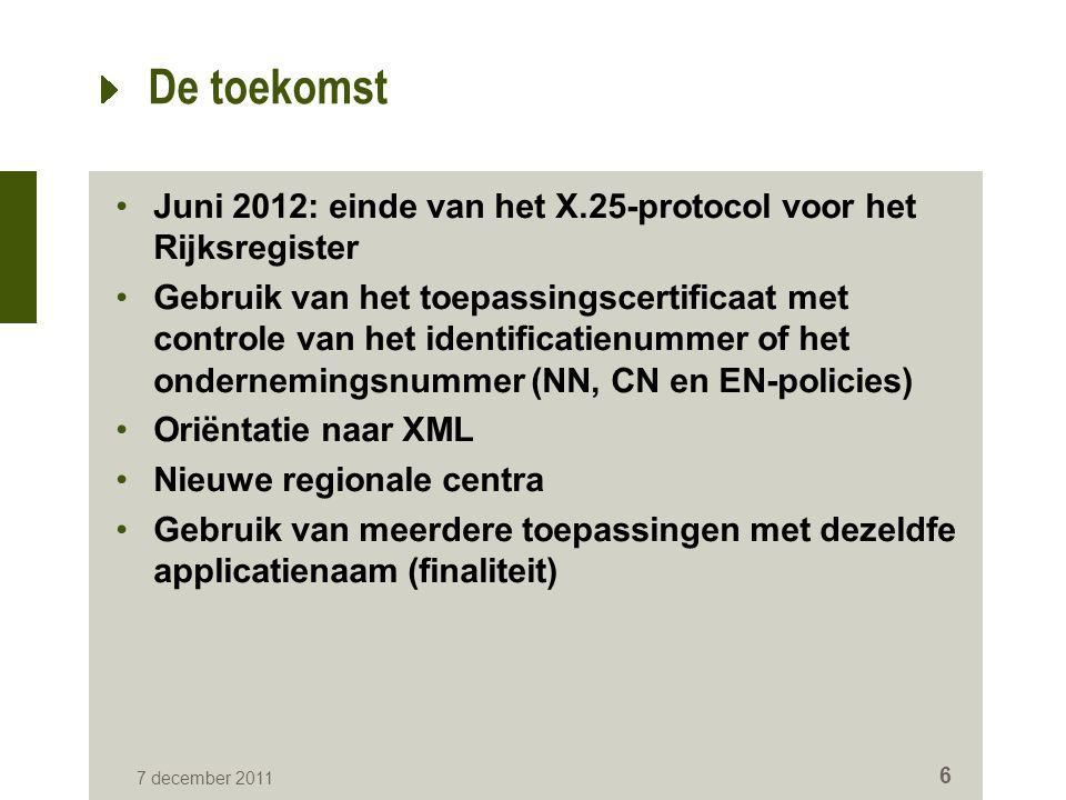De toekomst Juni 2012: einde van het X.25-protocol voor het Rijksregister.
