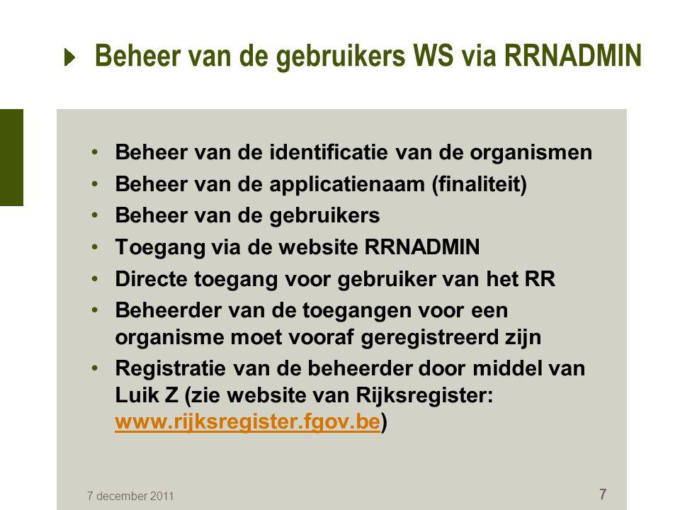 Beheer van de gebruikers WS via RRNADMIN