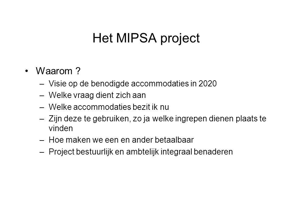 Het MIPSA project Waarom Visie op de benodigde accommodaties in 2020