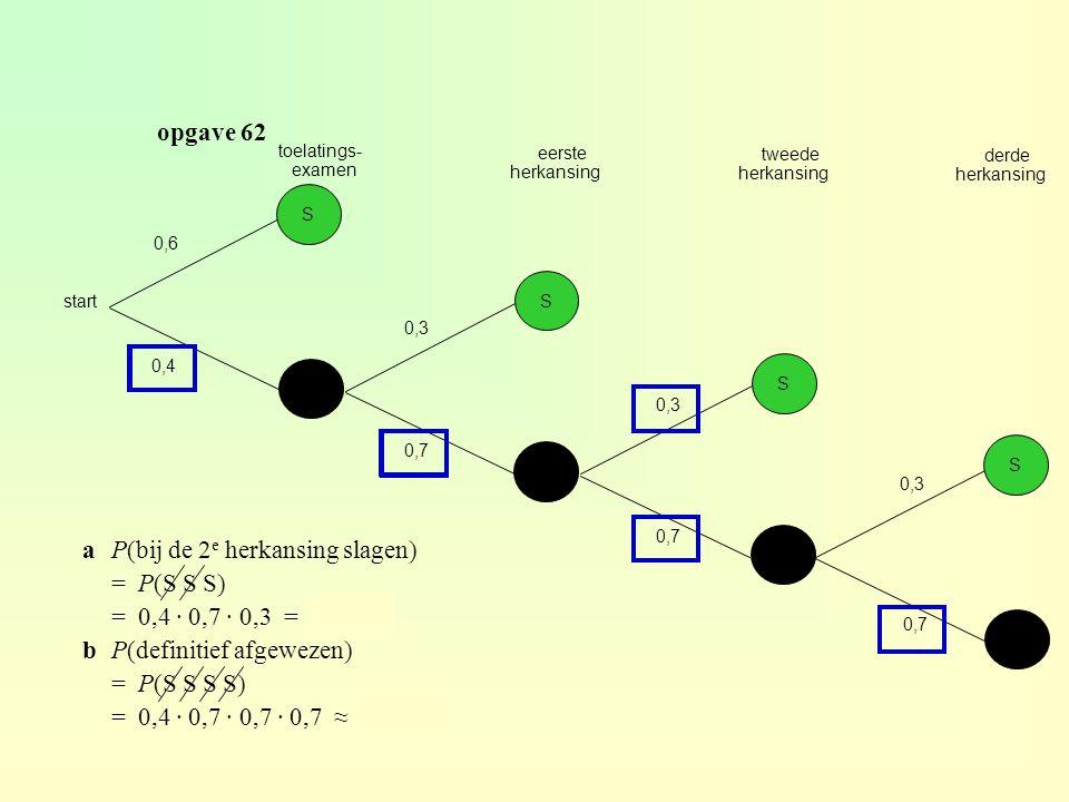 a P(bij de 2e herkansing slagen) = P(S S S) = 0,4 · 0,7 · 0,3 = 0,084