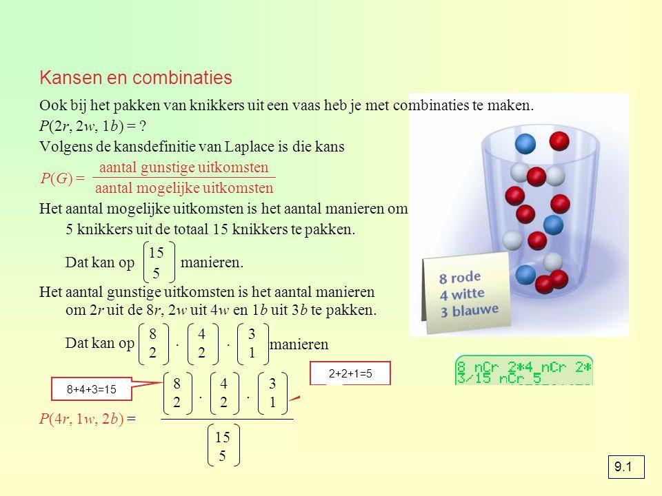 Kansen en combinaties Ook bij het pakken van knikkers uit een vaas heb je met combinaties te maken.