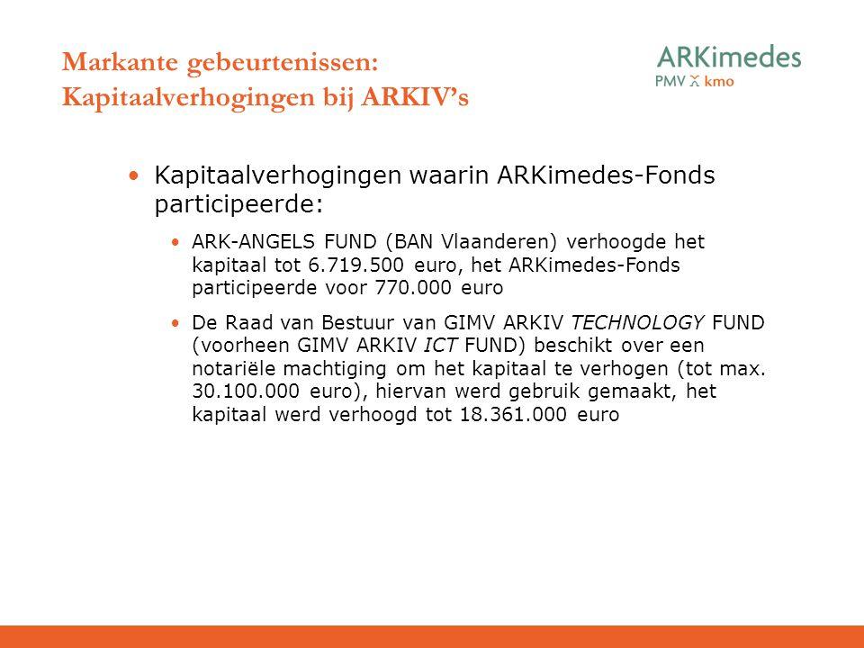 Markante gebeurtenissen: Kapitaalverhogingen bij ARKIV's