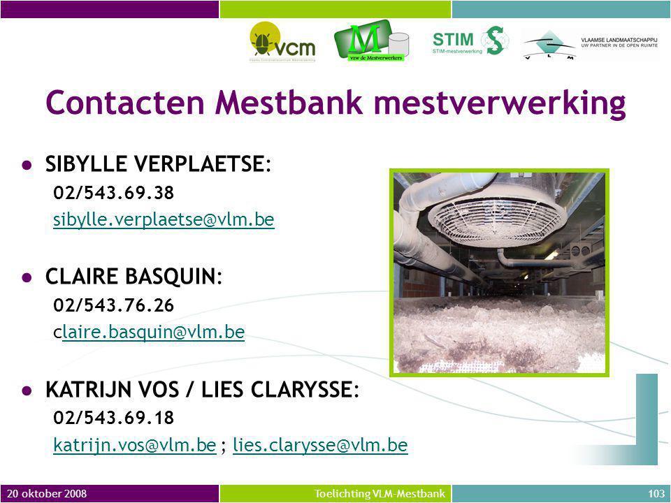 Contacten Mestbank mestverwerking