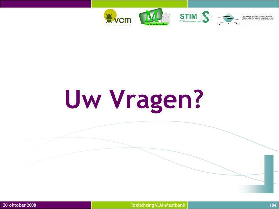 Uw Vragen 20 oktober 2008 Toelichting VLM-Mestbank