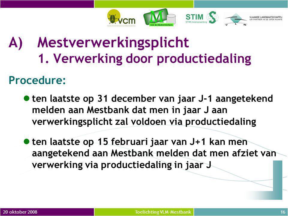 A) Mestverwerkingsplicht 1. Verwerking door productiedaling