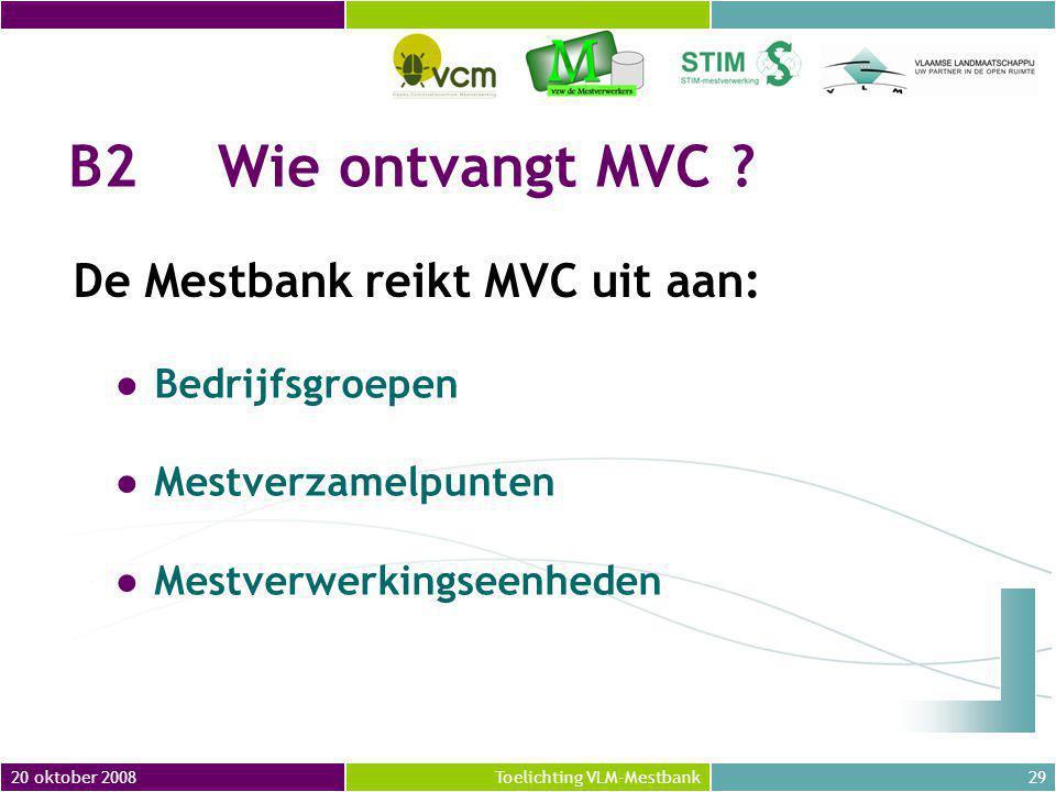B2 Wie ontvangt MVC De Mestbank reikt MVC uit aan: Bedrijfsgroepen