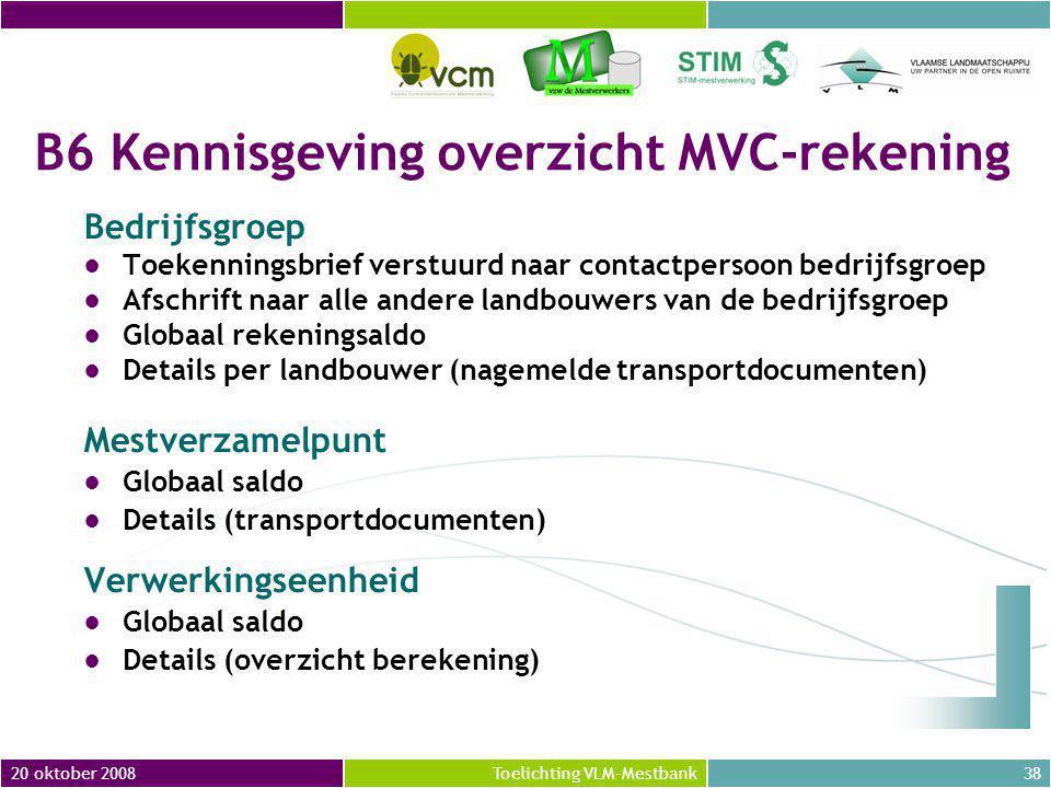 B6 Kennisgeving overzicht MVC-rekening