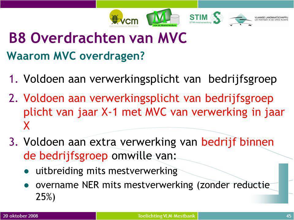 B8 Overdrachten van MVC Waarom MVC overdragen