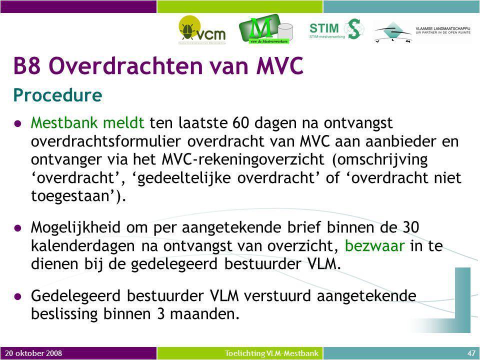 B8 Overdrachten van MVC Procedure