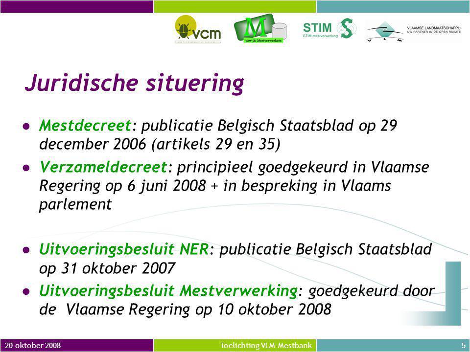 Juridische situering Mestdecreet: publicatie Belgisch Staatsblad op 29 december 2006 (artikels 29 en 35)