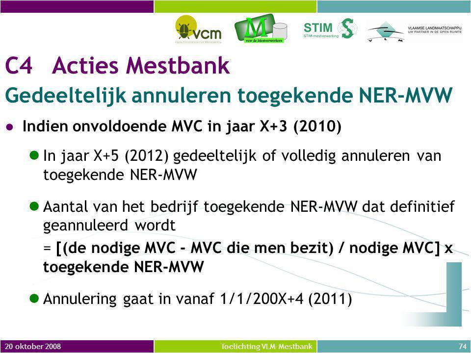 C4 Acties Mestbank Gedeeltelijk annuleren toegekende NER-MVW