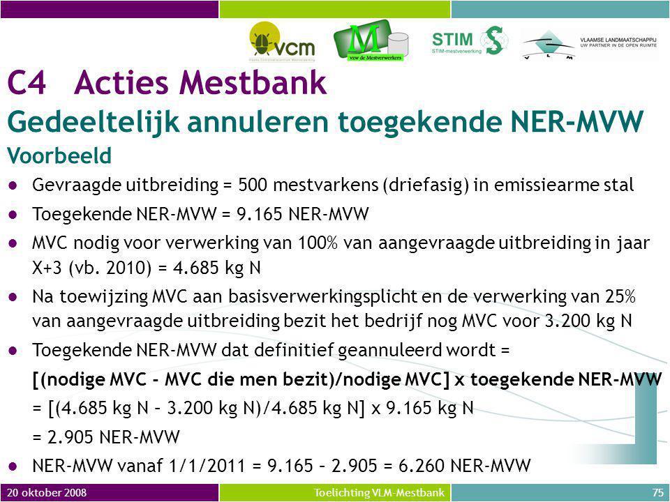 C4 Acties Mestbank Gedeeltelijk annuleren toegekende NER-MVW Voorbeeld