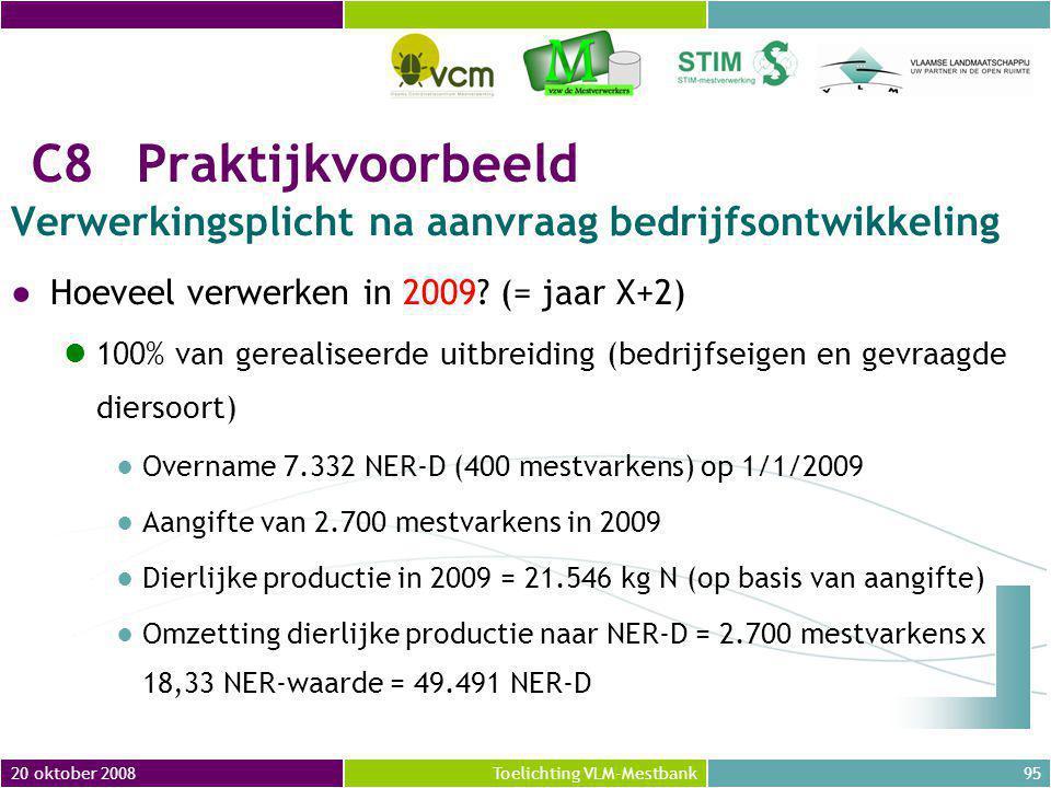20 oktober 2008 C8 Praktijkvoorbeeld. Verwerkingsplicht na aanvraag bedrijfsontwikkeling. Hoeveel verwerken in 2009 (= jaar X+2)