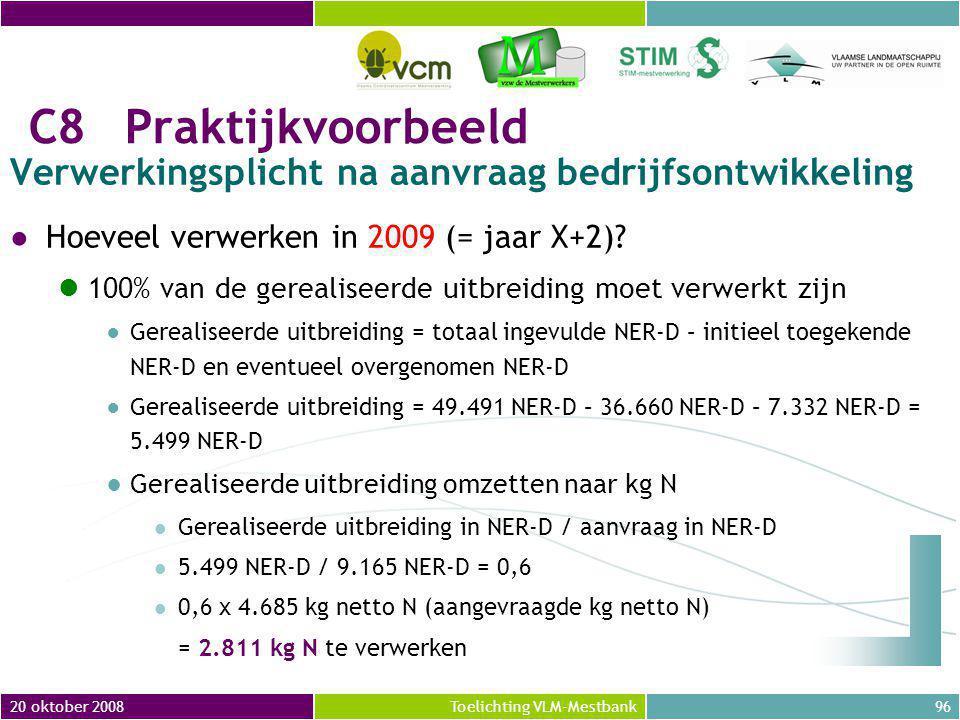 20 oktober 2008 Verwerkingsplicht na aanvraag bedrijfsontwikkeling. Hoeveel verwerken in 2009 (= jaar X+2)
