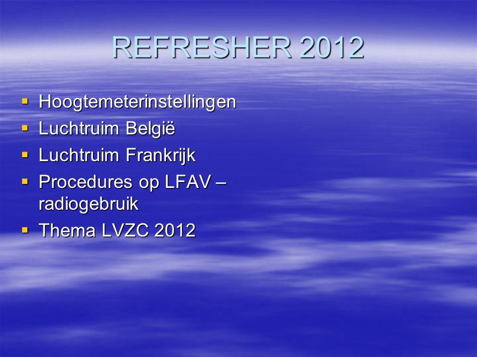 REFRESHER 2012 Hoogtemeterinstellingen Luchtruim België