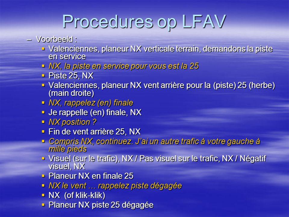 Procedures op LFAV Voorbeeld :