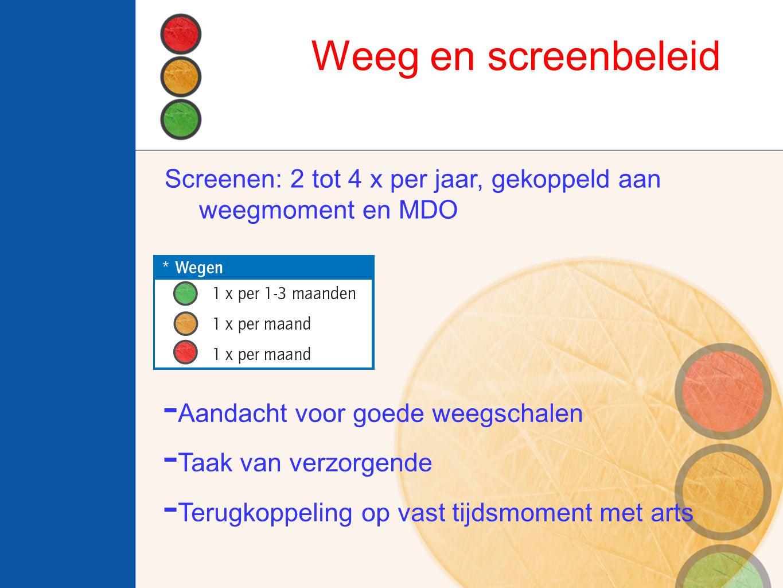 Weeg en screenbeleid Screenen: 2 tot 4 x per jaar, gekoppeld aan weegmoment en MDO. Aandacht voor goede weegschalen.