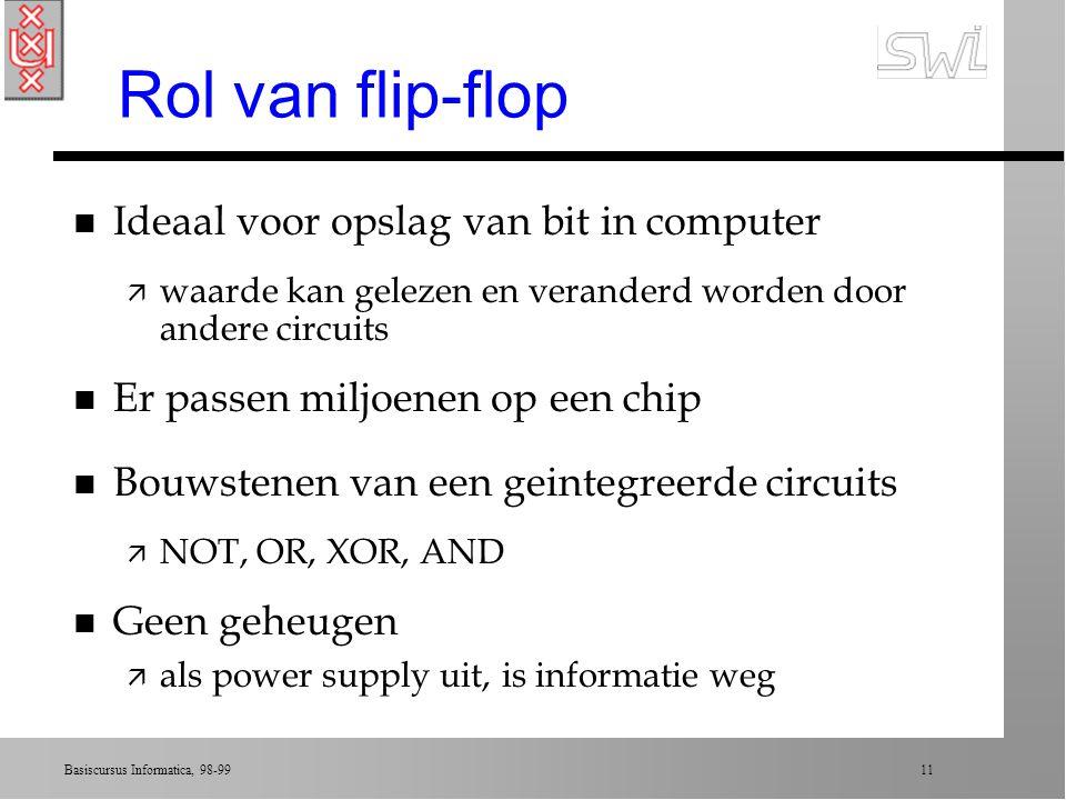 Rol van flip-flop Ideaal voor opslag van bit in computer
