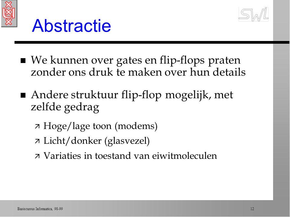Abstractie We kunnen over gates en flip-flops praten zonder ons druk te maken over hun details.