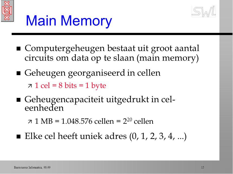 Main Memory Computergeheugen bestaat uit groot aantal circuits om data op te slaan (main memory) Geheugen georganiseerd in cellen.