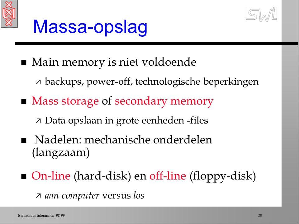 Massa-opslag Main memory is niet voldoende