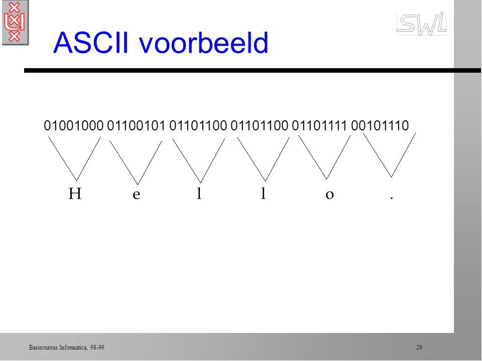 ASCII voorbeeld 01001000 01100101 01101100 01101100 01101111 00101110.