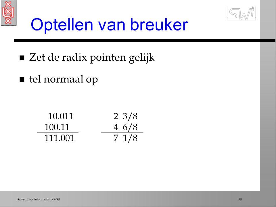 Optellen van breuker Zet de radix pointen gelijk tel normaal op 100.11