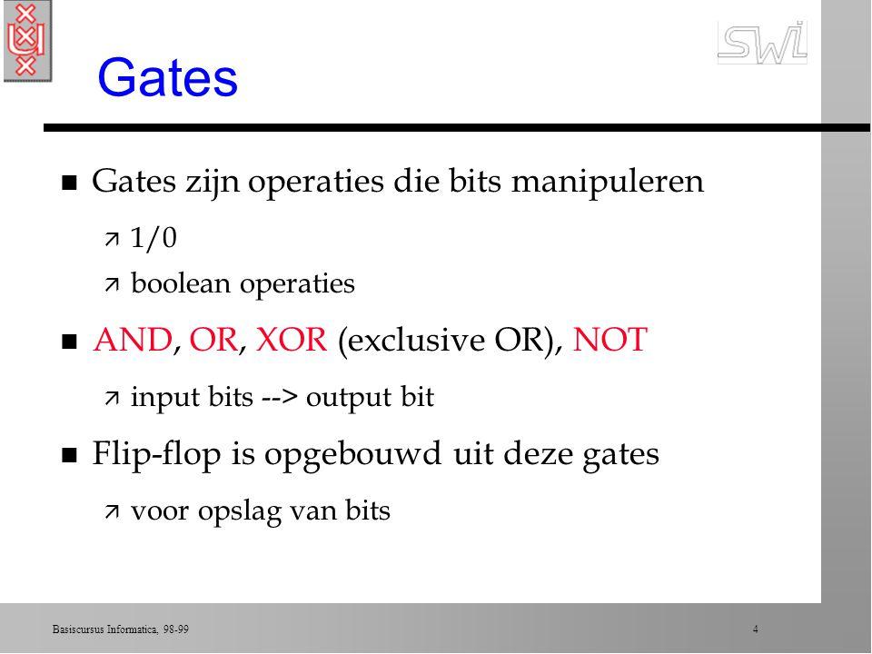 Gates Gates zijn operaties die bits manipuleren