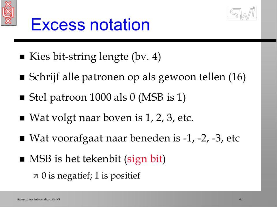 Excess notation Kies bit-string lengte (bv. 4)