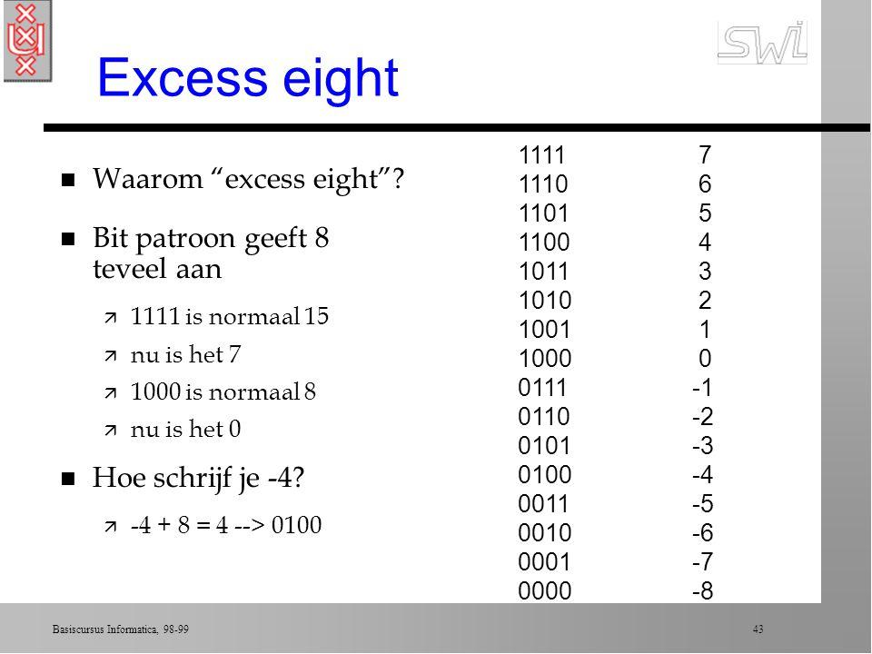 Excess eight Waarom excess eight Bit patroon geeft 8 teveel aan