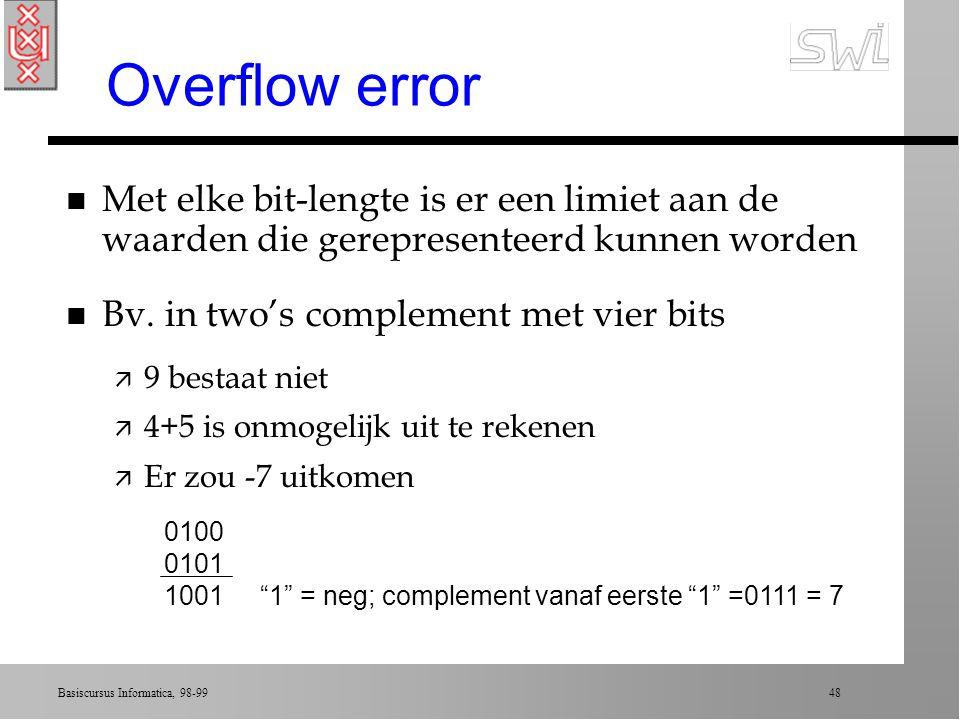 Overflow error Met elke bit-lengte is er een limiet aan de waarden die gerepresenteerd kunnen worden.