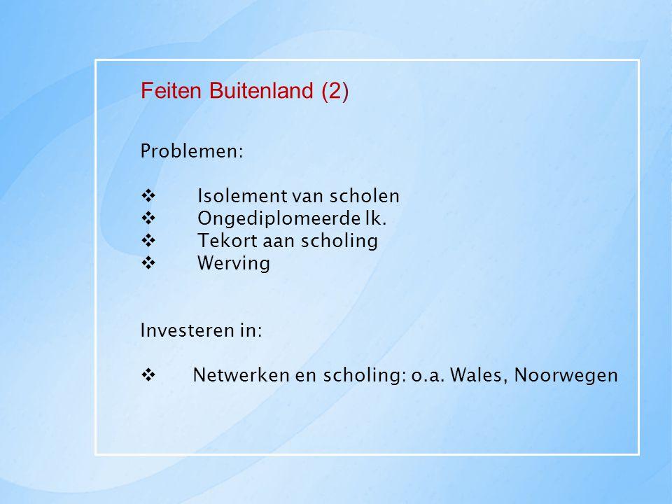 Feiten Buitenland (2) Problemen: Isolement van scholen