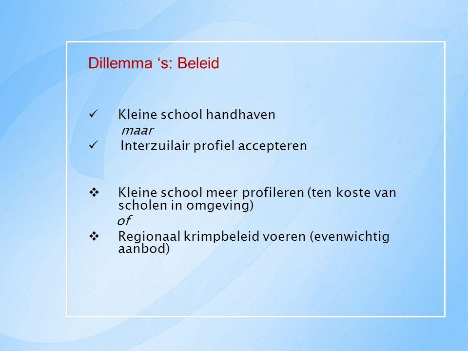 Dillemma 's: Beleid Kleine school handhaven maar