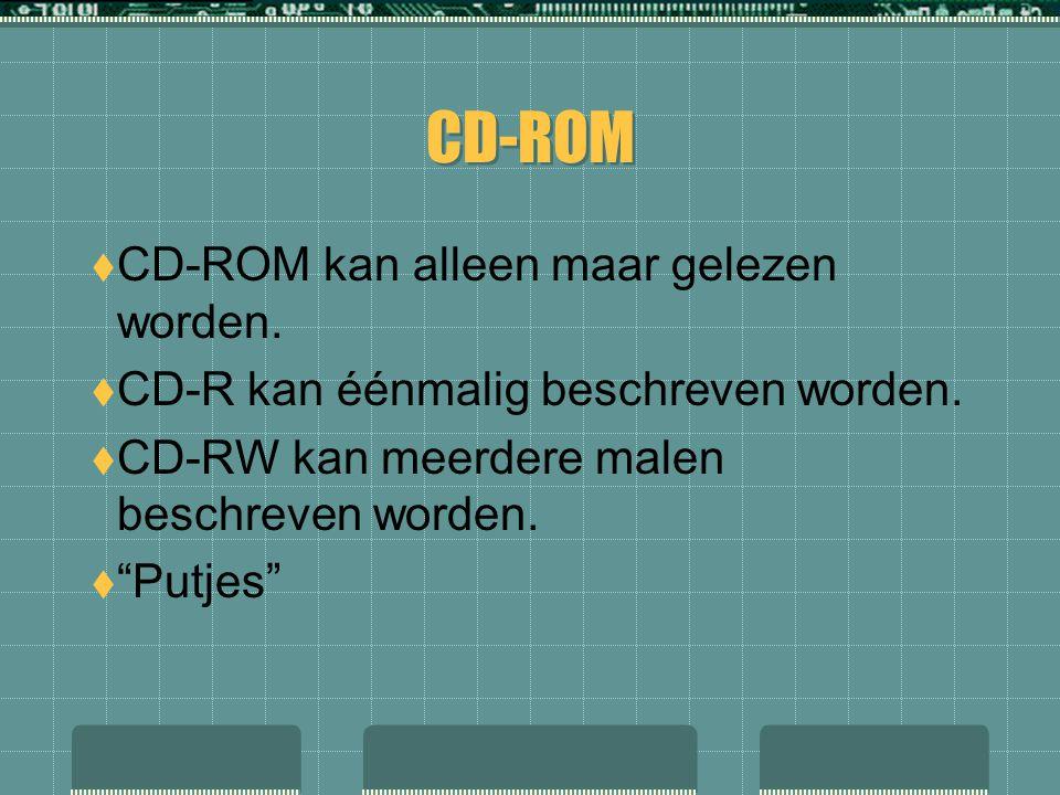 CD-ROM CD-ROM kan alleen maar gelezen worden.