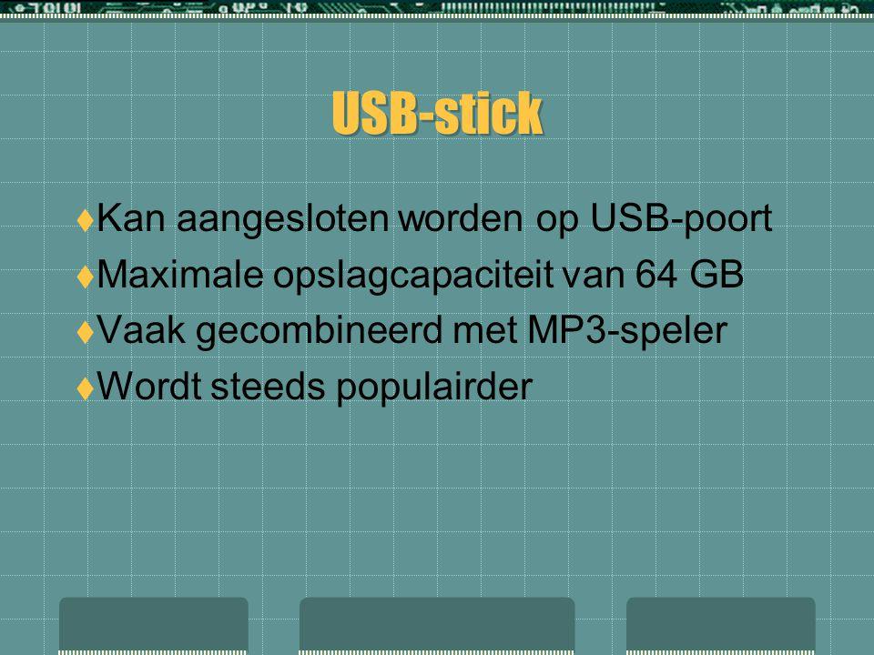 USB-stick Kan aangesloten worden op USB-poort