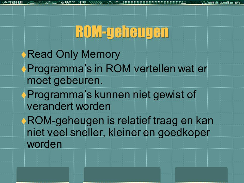 ROM-geheugen Read Only Memory
