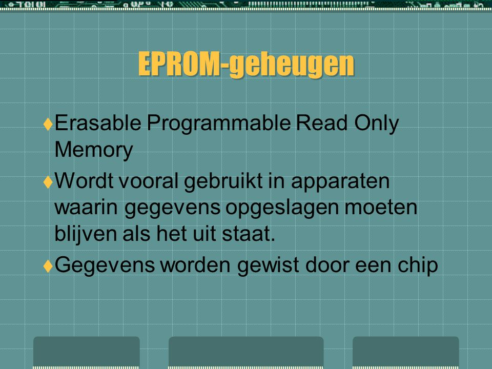 EPROM-geheugen Erasable Programmable Read Only Memory