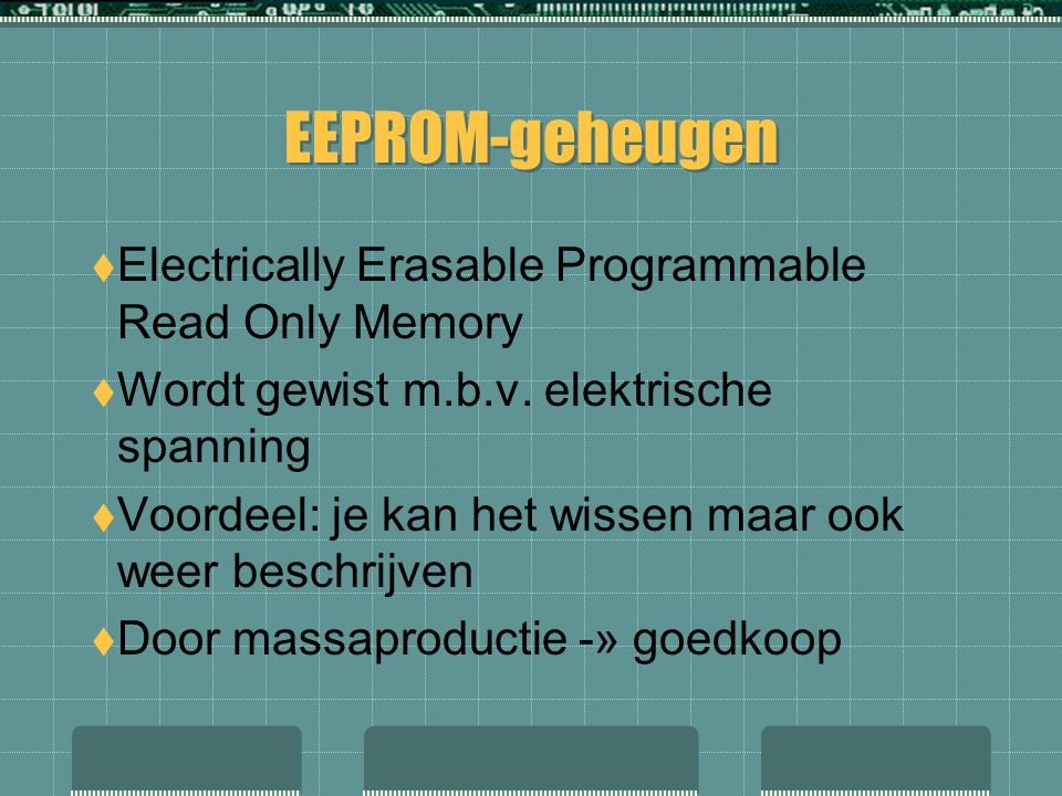 EEPROM-geheugen Electrically Erasable Programmable Read Only Memory