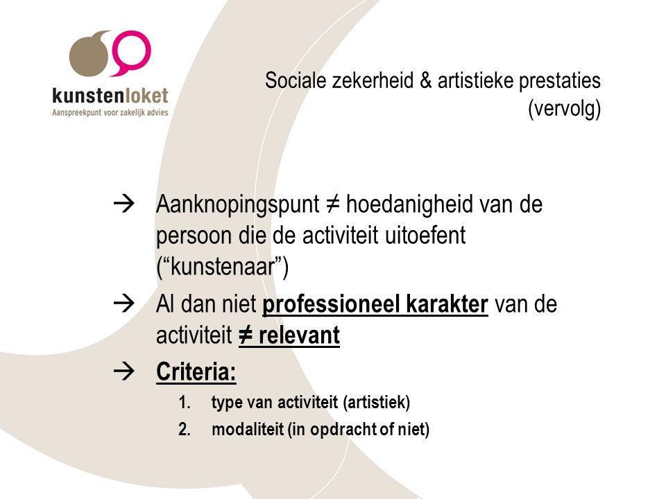 Sociale zekerheid & artistieke prestaties (vervolg)