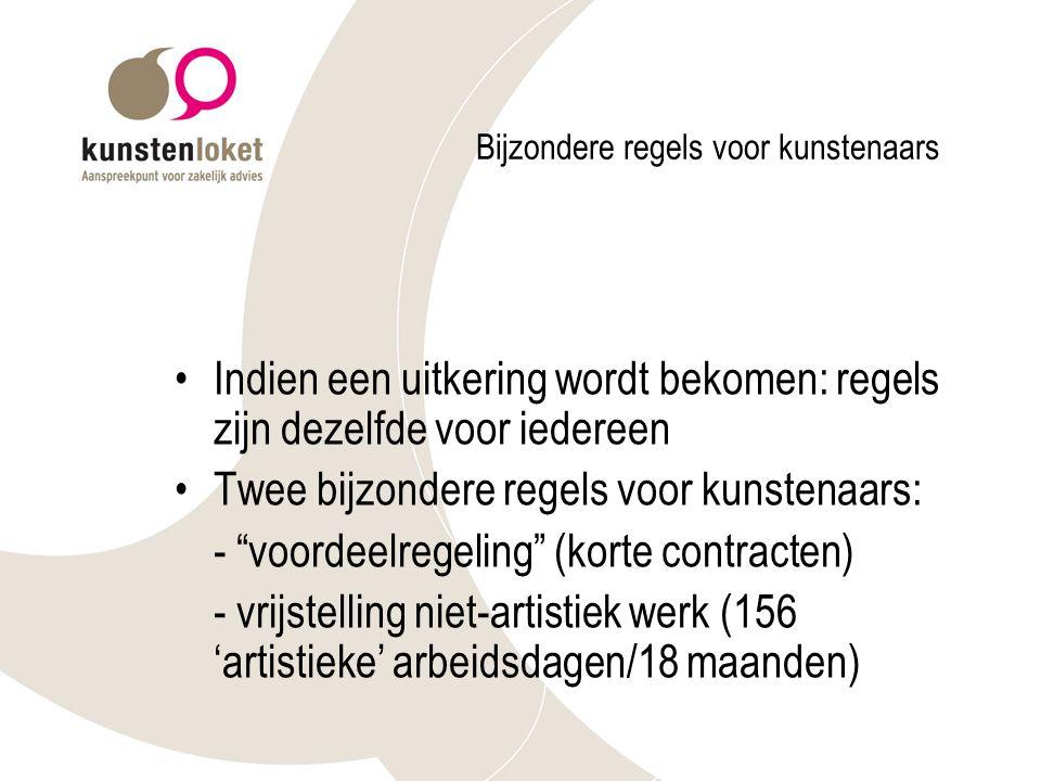 Bijzondere regels voor kunstenaars