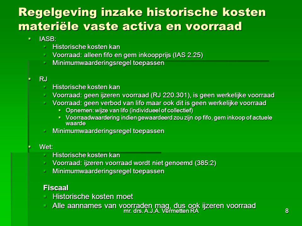 Regelgeving inzake historische kosten materiële vaste activa en voorraad